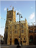 SP0202 : Town Hall and Church Cirencester by Paul Best