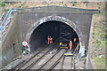 TQ3470 : Engineering works in railway tunnel mouth by David Martin