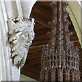SU6491 : Ewelme Church, the face of God and the font cover by Alan Murray-Rust