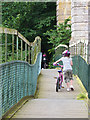 NT7030 : Young cyclists on the footbridge, Roxburgh Viaduct by Oliver Dixon