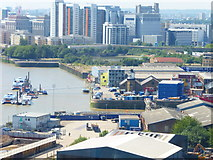 TQ3980 : Trinity Buoy Wharf Lighthouse seen from cable car by Shazz