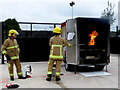 H4573 : Omagh Fire Station - burning chip pan demonstration by Kenneth  Allen