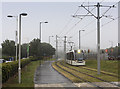 NT1772 : Tram approaching the Gyle Centre by William Starkey