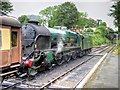 "SU5832 : Steam Locomotive ""Lord Nelson"" at Alresford Station by David Dixon"