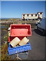 NT9267 : Coastal Berwickshire : Red Fishboxes At St Abbs Harbour by Richard West