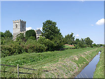 SK7958 : Trentside dyke with St Wilfrid's church by Alan Murray-Rust