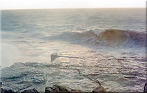 SY6768 : Stormy seas at Portland Bill, December 1994 by Ben Brooksbank