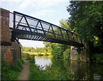 SU9946 : Site of a former railway bridge over the Wey Navigation by Stefan Czapski