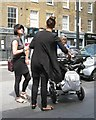 TQ2782 : Friends have a stand-up chat over coffee, outside Costa, Melcombe Street by Robin Stott