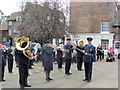 SP9211 : The Military Band strikes up as the Church Procession Approaches by Chris Reynolds