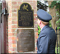 SP9211 : Admiring the First World War Plaque at the Tring Memorial Garden by Chris Reynolds