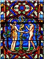 SK9771 : Adam and Eve, Lincoln Cathedral Great East Window by David Dixon