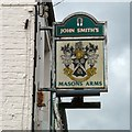 SJ9597 : Sign of the Masons Arms by Gerald England