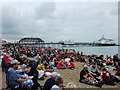 TV6198 : Eastbourne Pier with crowds on beach by PAUL FARMER
