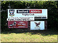 TL0652 : Bedford Athletic Rugby Club sign by Adrian Cable
