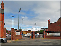 SP7761 : Northampton: the Wantage Road entrance to the County Ground by John Sutton