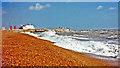 TR2235 : Folkestone: eastward below Leas Cliff in storm, 1997 by Ben Brooksbank
