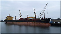NZ4057 : Ship in Sunderland Harbour in August by Jeremy Bolwell