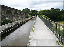 SJ2837 : Chirk aqueduct and railway viaduct, looking along the canal by Humphrey Bolton