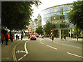 TQ3281 : Cycle lane on New Change by Stephen Craven