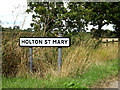 TM0636 : Holton St.Mary Village Name sign by Adrian Cable
