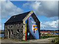 NF9168 : Artwork on The Dairy at Taigh Chearsabhagh by John Allan