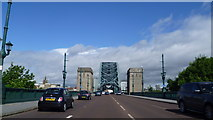 NZ2563 : Driving towards the Tyne Bridge in Newcastle upon Tyne by Jeremy Bolwell