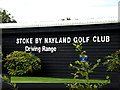 TL9637 : Stoke By Nayland Golf Club Driving Range sign by Geographer