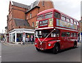 SK7519 : Red Routemaster bus in Melton Mowbray town centre by Jaggery
