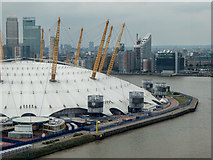 TQ3980 : O2 Centre from the Emirates Cable Car, London E1 by Christine Matthews