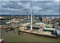 TQ3980 : Emirates Cable Car - View back over Dockland by Rob Farrow