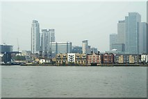 TQ3880 : View of Canary Wharf from the Greenwich Peninsula #2 by Robert Lamb