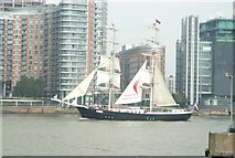 TQ3880 : View of Mercedes passing New Providence Wharf by Robert Lamb