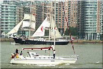 TQ3880 : View of the yacht and Mercedes passing at Greenwich Peninsula by Robert Lamb