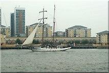 TQ3880 : View of J.R.Tolkien passing New Providence Wharf by Robert Lamb