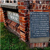 SJ8481 : Fustian-cutting plaque outside Aus-Bore House in Wilmslow by Jaggery