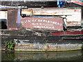 """SP8814 : Name panel of narrowboat """"Salvage Department Birmingham No 17"""" at Bates Boatyard by David Hawgood"""