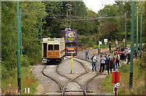 SK3455 : Trams and photographers at Glory Mine before the cavalcade by Alan Murray-Rust