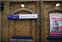 TQ3186 : Sign, Finsbury Park Station by N Chadwick