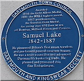 SX8751 : Samuel Lake blue plaque in Dartmouth by Jaggery