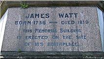 NS2876 : James Watt statue plaque by Thomas Nugent
