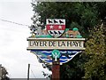 TL9620 : Layer de la Haye, village sign (detail) by Bikeboy