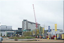TQ3884 : View of the Premier Inn from the walkway leading to the Olympic Park by Robert Lamb