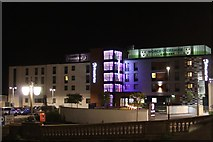 SO8454 : Night view of Premier Inn, Worcester City Centre by Oast House Archive