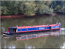 SO8454 : Narrowboat in the River Severn by William Starkey