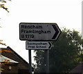 TM3863 : Roadsign  on the B1119 Fairfield Road by Adrian Cable