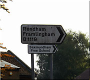 TM3863 : Roadsign  on the B1119 Fairfield Road by Geographer