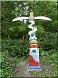 SJ9594 : Painted Sustrans Signpost at Swain's Valley by Gerald England