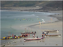 SW3526 : Pilot gigs on the beach at Sennen Cove by Rod Allday