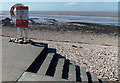ST3971 : Warning notice and lifebuoy at the edge of Shingle Beach, Clevedon by Jaggery